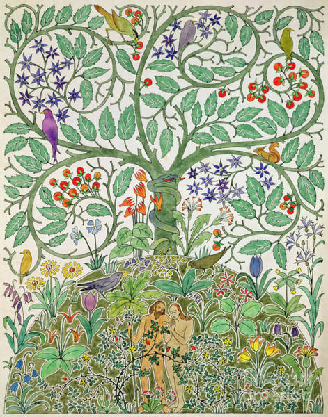 Eden Painting - Adam And Eve Design  by Charles Francis Annesley Voysey