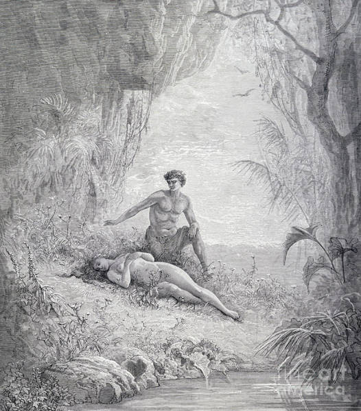 Man And Woman Drawing - Adam And Eve by Gustave Dore