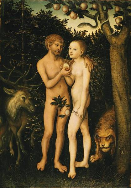 Painting - Adam And Eve In The Garden Of Eden by Lucas Cranach The Elder