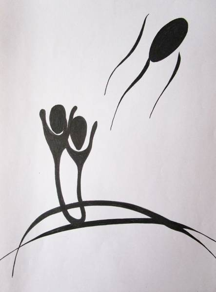 Drawing - Adam And Eve by Rosita Larsson