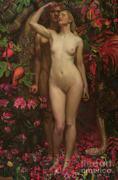 The Creation Of Adam Wall Art - Painting - Adam And Eve With The Snake by John Byam Liston Shaw
