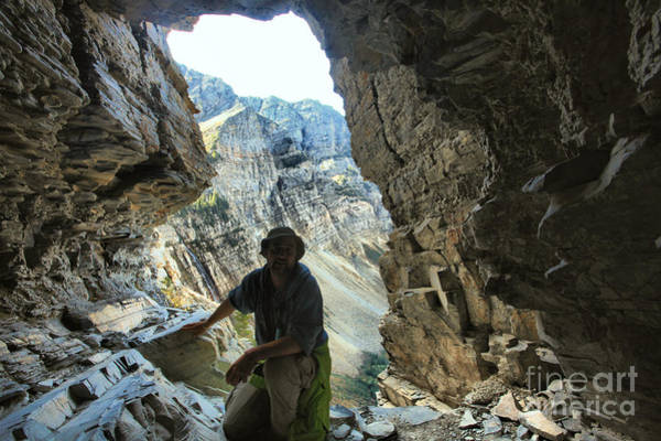 Photograph - Adam Jewell At Crypt Lake Tunnel by Adam Jewell