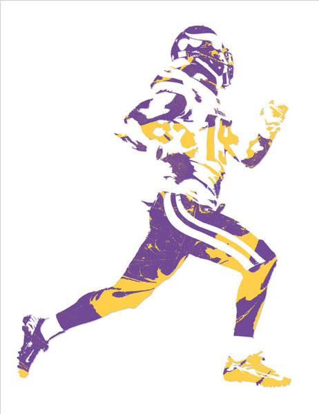 Wall Art - Mixed Media - Adam Thielen Minnesota Vikings Pixel Art 1 by Joe Hamilton