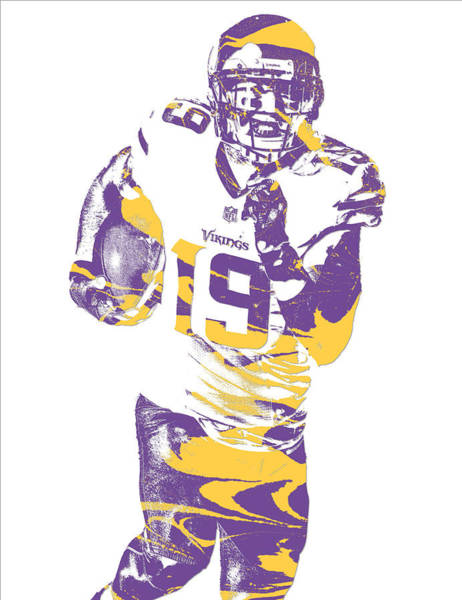 Wall Art - Mixed Media - Adam Thielen Minnesota Vikings Pixel Art 11 by Joe Hamilton
