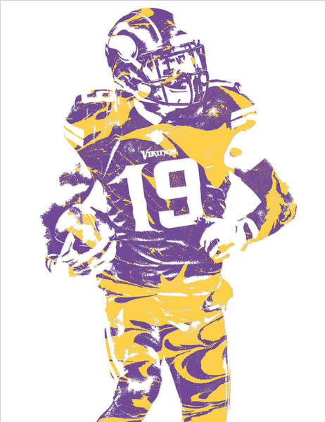Super Bowl Mixed Media - Adam Thielen Minnesota Vikings Pixel Art 2 by Joe Hamilton