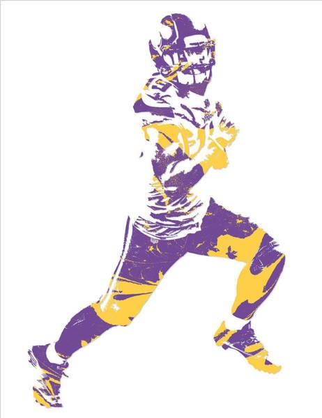 Wall Art - Mixed Media - Adam Thielen Minnesota Vikings Pixel Art 3 by Joe Hamilton