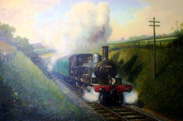 Loco Wall Art - Painting - Adam's 4-4-2 T Loco. by Mike Jeffries
