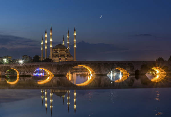 Wall Art - Photograph - Sabanci Central Mosque And Roman Bridge In Adana,turkey by Ayhan Altun