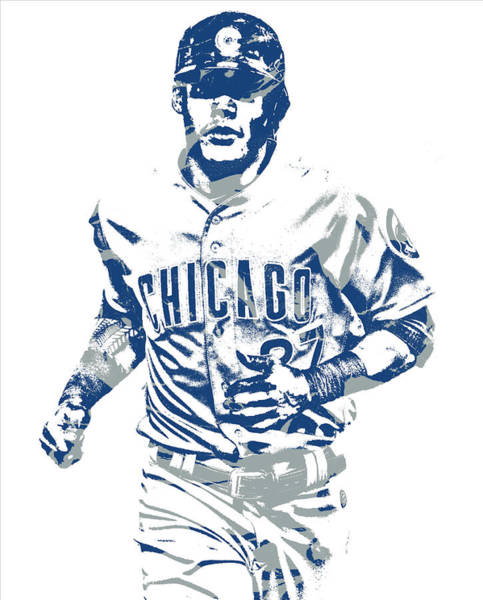 Wall Art - Mixed Media - Addison Russell Chicago Cubs Pixel Art 11 by Joe Hamilton