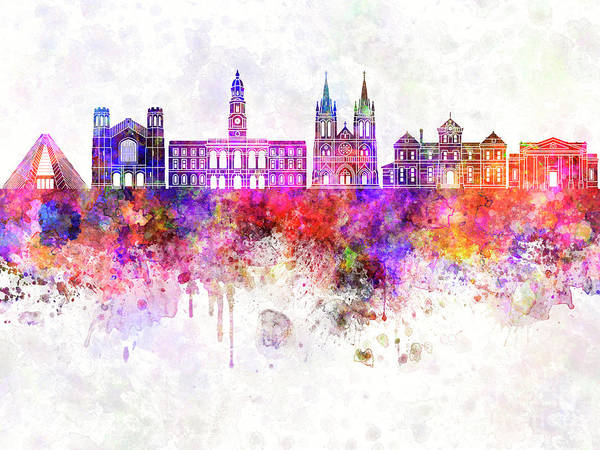 Wall Art - Painting - Adelaide V2 Skyline In Watercolor Background by Pablo Romero