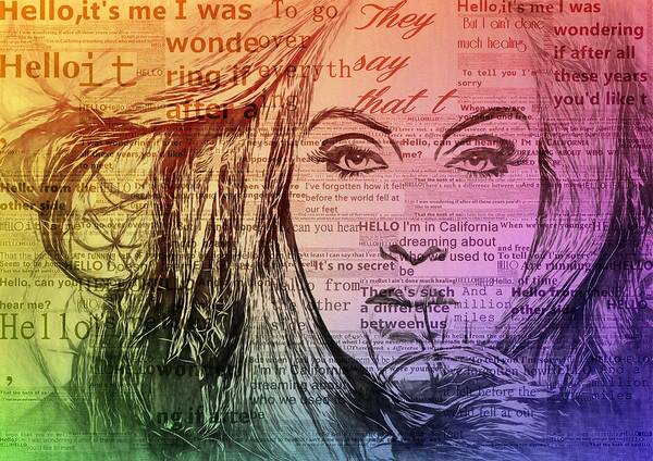 Digital Art - Adele Hello Typography  by Dan Sproul