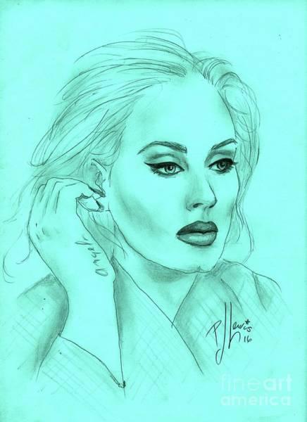 Aqua Drawing - Adele by PJ Lewis