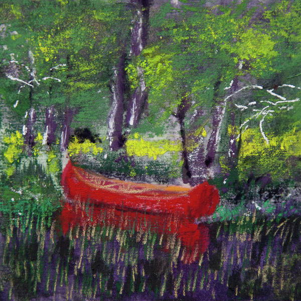 Wall Art - Pastel - Adirondack Canoe by David Patterson
