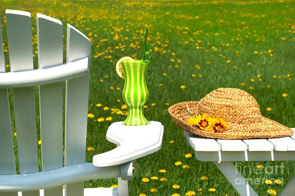 Blooms Digital Art - Adirondack Chair On The Grass  by Sandra Cunningham