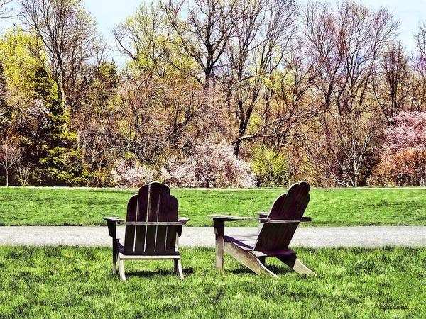 Photograph - Adirondack Chairs In Spring by Susan Savad