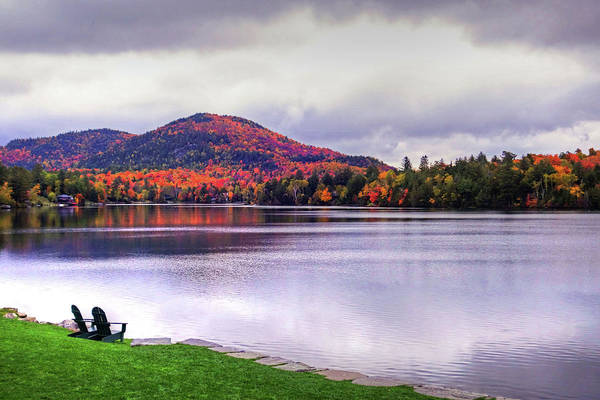 Adirondack Chairs In The Adirondacks. Mirror Lake Lake Placid Ny New York Mountain Art Print