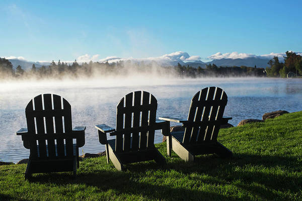 Photograph - Adirondack Chairs Overlooking Mirror Lake In Lake Placid by Toby McGuire