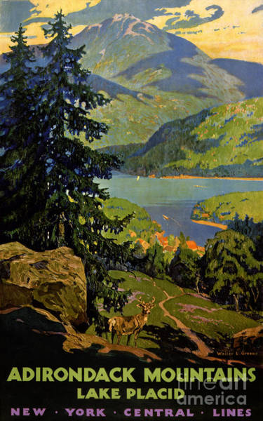 Adirondack Mountains Painting - Adirondack Mountains Lake Placid Vintage Poster Restored by Vintage Treasure