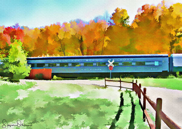 Wall Art - Mixed Media - Adirondack Scenic Railroad - Watercolor - Signed Limited Edition by Steve Ohlsen