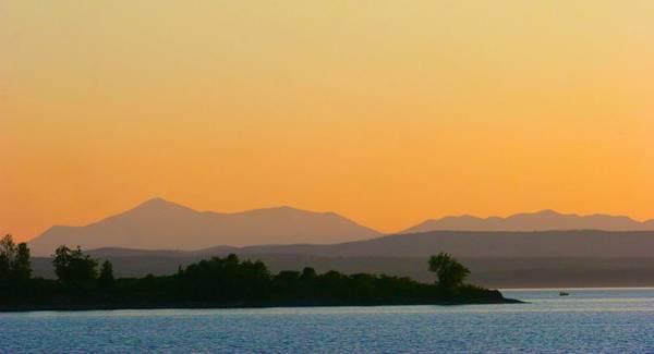 Photograph - Adirondacks And Lake Champlain Under A Peach Sky by Polly Castor
