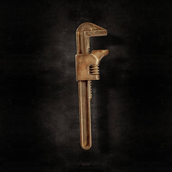 Wall Art - Photograph - Adjustable Wrench Backside On Black by YoPedro