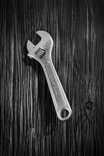 Wall Art - Photograph - Adjustable Wrench Over Wood 72 In Black And White by YoPedro