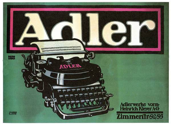 Vintage Poster Mixed Media - Adler Typewriter - Vintage Typewriter - Retro Advertising Poster by Studio Grafiikka