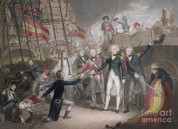 Wall Art - Drawing - Admiral Nelson's Boarding The Two Spanish Ships, 14th February 1797 by Daniel Orme