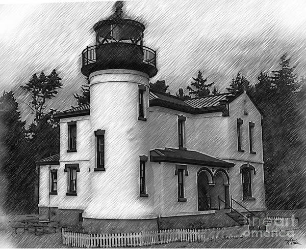 Digital Art - Admiralty Head Lighthouse Sketched by Kirt Tisdale