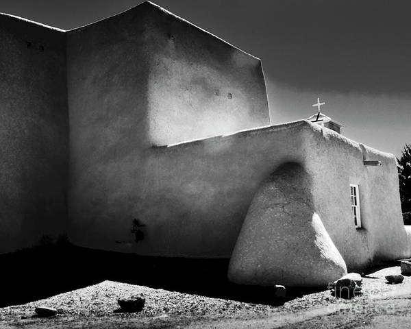 Photograph - Adobe Church In B-w by Charles Muhle