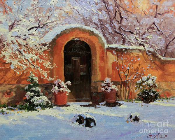 Fineart Painting - Adobe Wall With Wooden Door In Snow. by Gary Kim