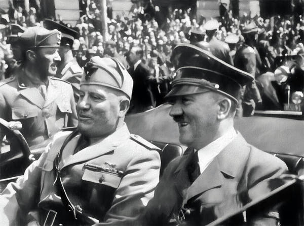 Photograph - Adolf Hitler And Benito Mussolini by Carlos Diaz