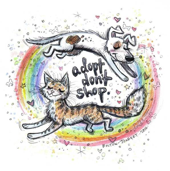Adoption Wall Art - Mixed Media - Adopt Don't Shop. by Maria Bolton-Joubert