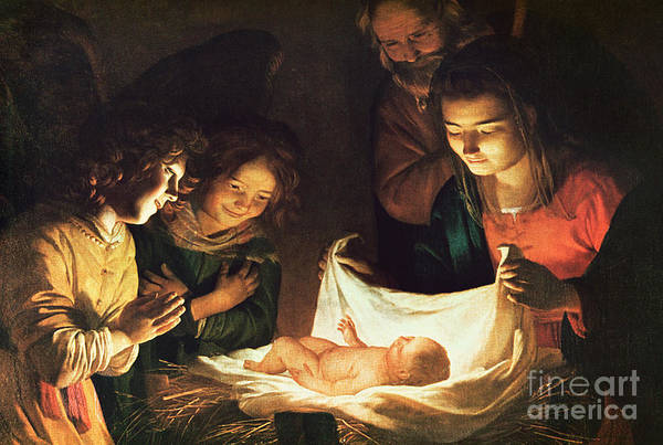 Bible Wall Art - Painting - Adoration Of The Baby by Gerrit van Honthorst
