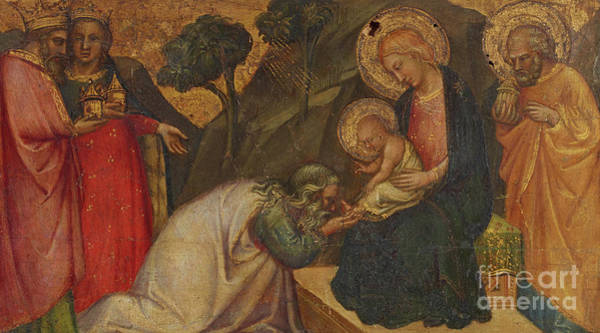 Wall Art - Painting - Adoration Of The Magi  by Aretino Luca Spinello or Spinelli