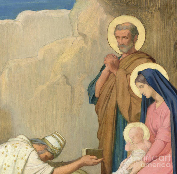 Wall Art - Painting - Adoration Of The Magi by Hippolyte Flandrin