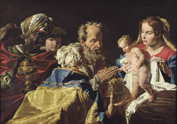 Wall Art - Painting - Adoration Of The Magi By Stomer by Matthias Stomer