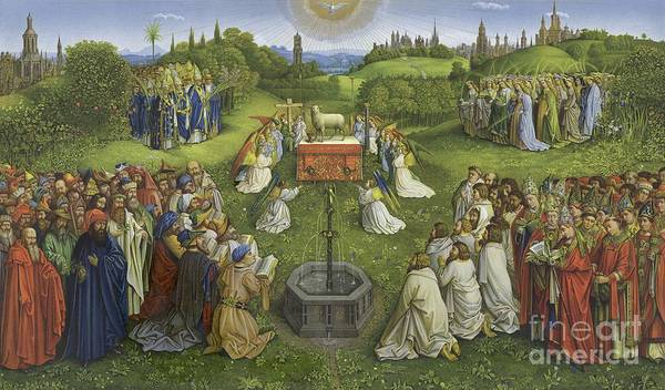 Devotion Wall Art - Painting - Adoration Of The Mystic Lamb by Hubert Eyck and Jan van Eyck