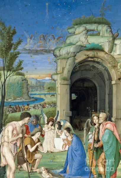 Wall Art - Painting - Adoration Of The Shepherds by Francesco di Marco Marmitta da Parma
