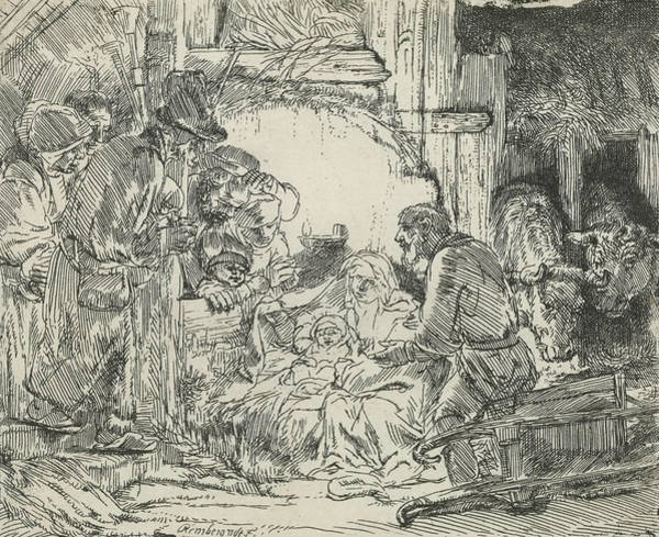 Relief - Adoration Of The Shepherds, With Lamp by Rembrandt