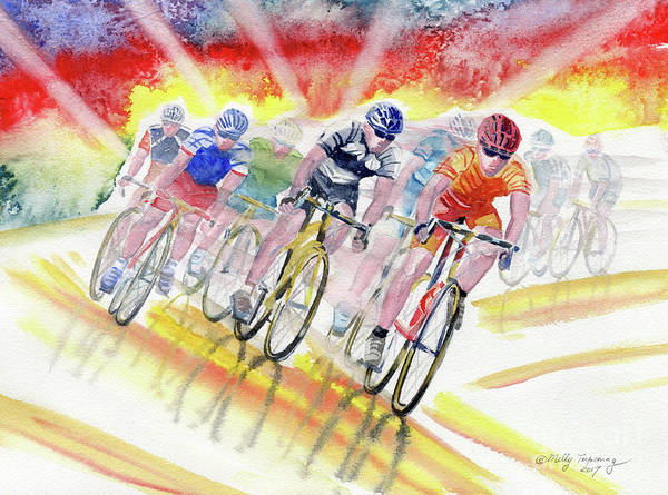 Bike Racing Painting - Adrenaline Rush by Melly Terpening
