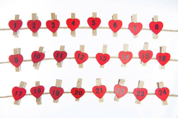 Photograph - Advent Hearts On A Line by Helen Northcott