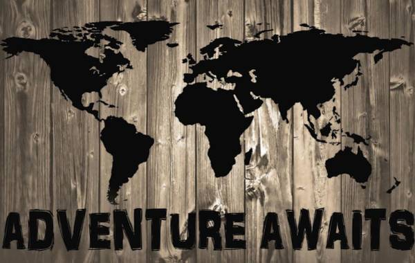 Traveler Mixed Media - Adventure Awaits Graphic Barn Door by Dan Sproul