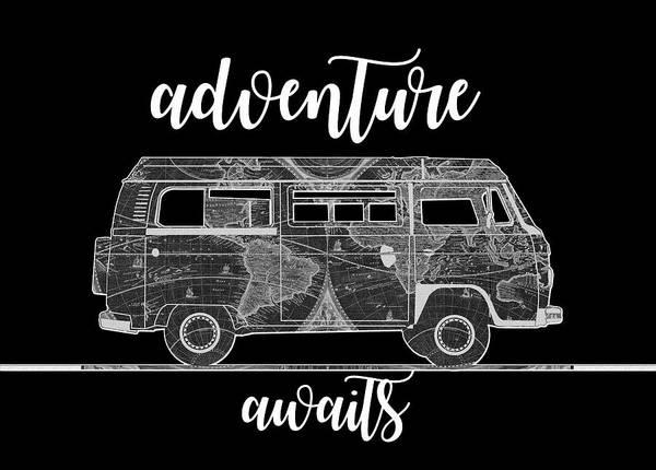 Mapping Digital Art - Adventure Awaits World Map Design 2 by Bekim M