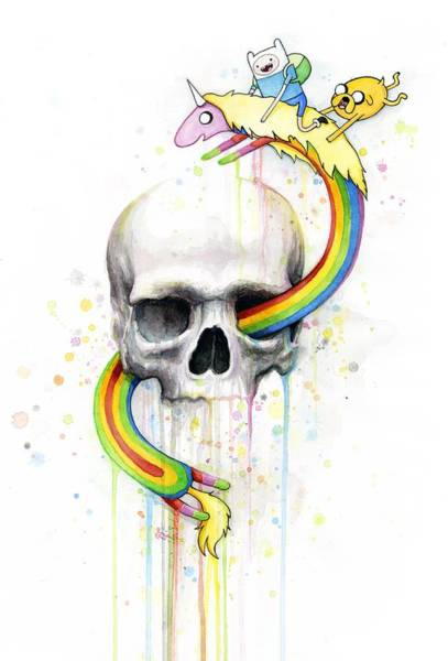 Skulls Wall Art - Painting - Adventure Time Skull Jake Finn Lady Rainicorn Watercolor by Olga Shvartsur