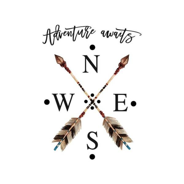 Tribal Digital Art - Adventure Waits Typography Arrows Compass Cardinal Directions by Georgeta Blanaru