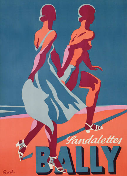 Blue Dress Painting - Advertisement For Bally Sandals by Druck Gebr