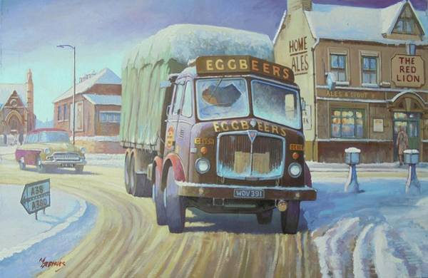 Snowscape Painting - Aec Tinfront In The Snow. by Mike Jeffries