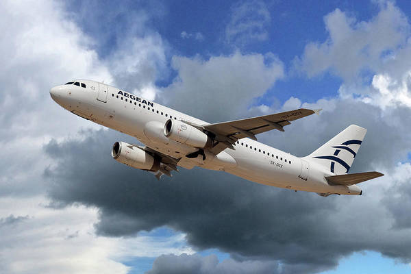 Airline Wall Art - Photograph - Aegean Airlines Airbus A320-232 by Smart Aviation