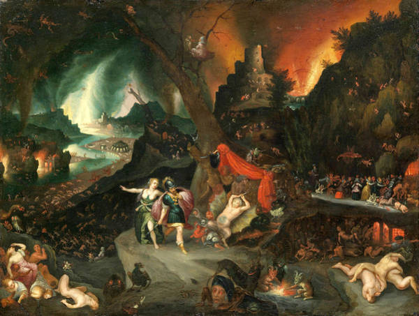 Painting - Aeneas And The Sibyl In The Underworld by Jan Brueghel the Younger